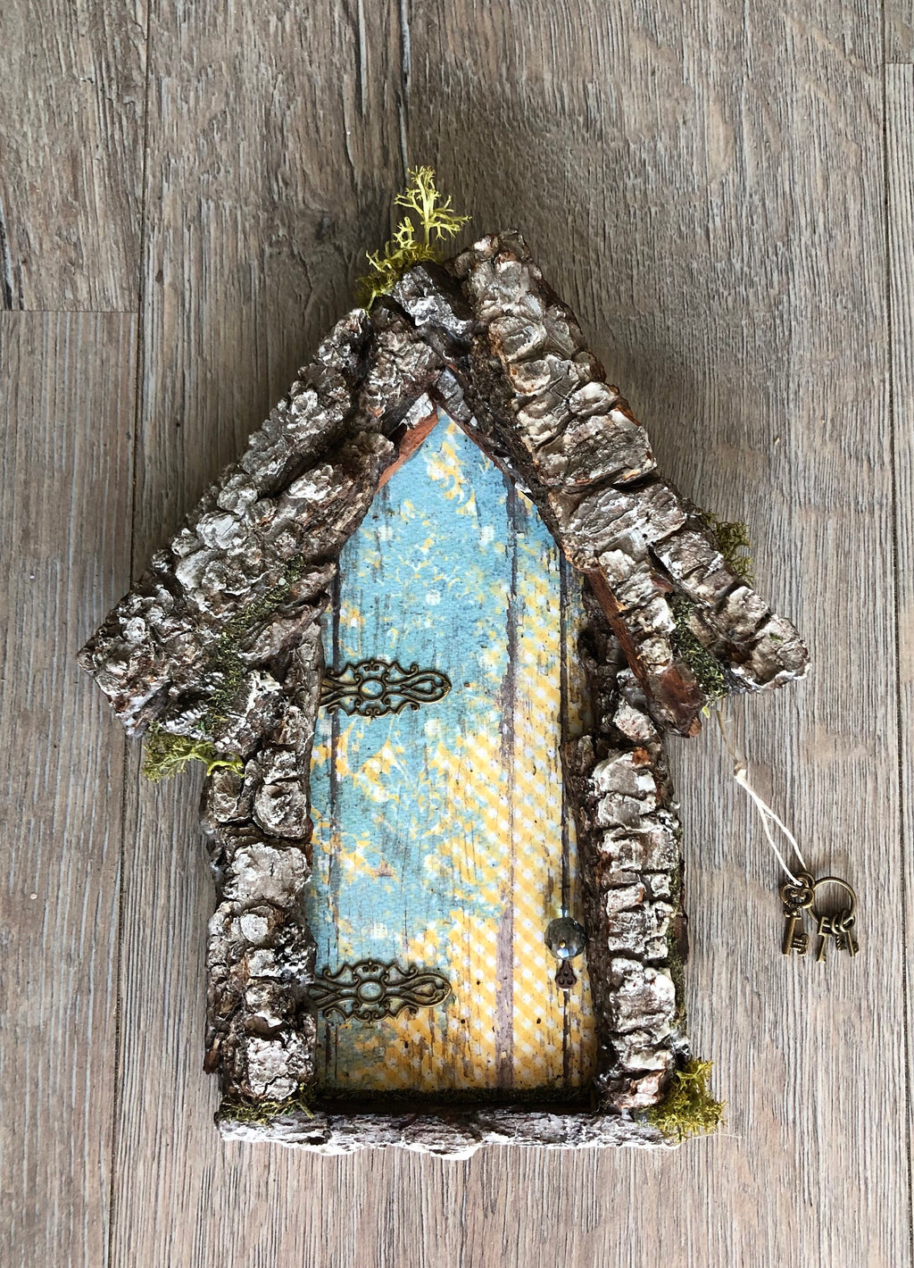 Fairy Door with Pine Bark Accent by Olive