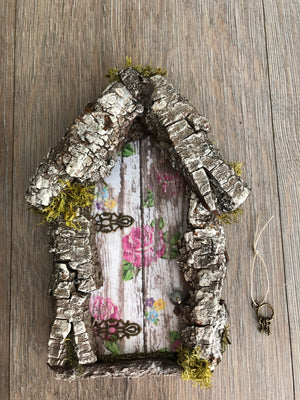 Fairy Door with Pine Bark Accent