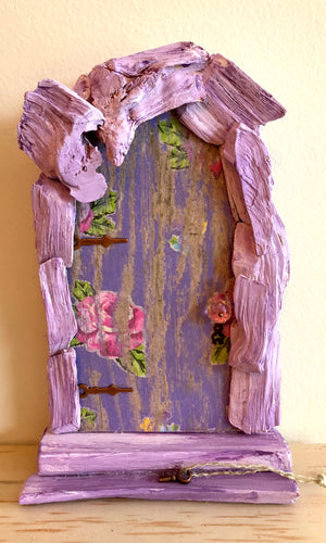 Fairy Door with Tiny Keys ~ Old Wood Chip Accent by Olive