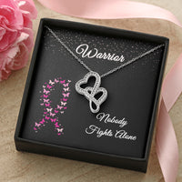 Warrior Breast Cancer Ribbon Double Hearts Necklace