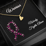 Warrior Breast Cancer Ribbon Initial Letter Necklace