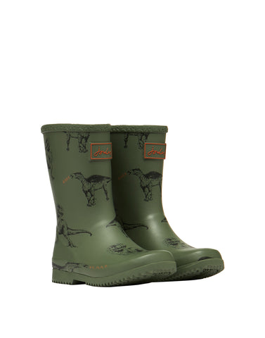 Jungen Gummistiefel Junior Roll Up Green Dinos