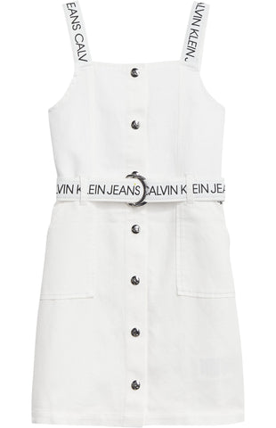 Mädchen Kleid Button Down Logo Strap Dress IG0IG00907 Bright White