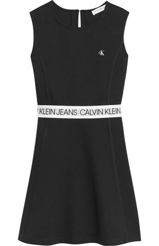 Mädchen Kleid Logo Tape Punto Sleeveless Dress IG0IG00910 CK Black