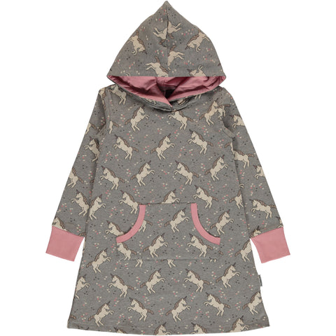 Mädchen Kleid Dress Hoodie Sweat Unicorn Dreams