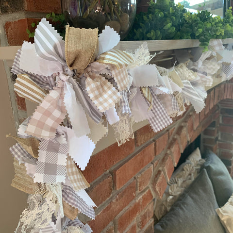 Rustic Farmhouse Rag Tie Garland