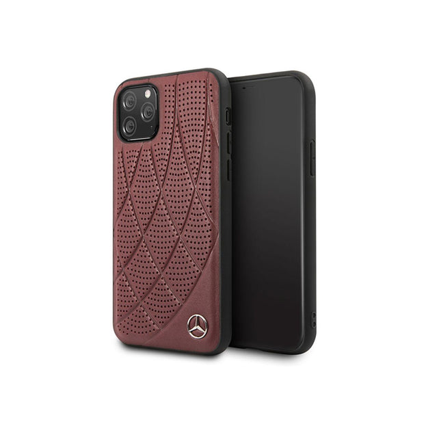 Mercedes Benz - Genuine Leather Hard Case (MEHCNDIQ)-Accessories-Mercedes Benz-Red-iPhone 11 Pro-Starlink Qatar