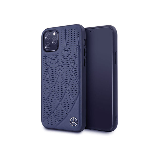 Mercedes Benz - Genuine Leather Hard Case (MEHCNDIQ)-Accessories-Mercedes Benz-Blue-iPhone 11 Pro-Starlink Qatar