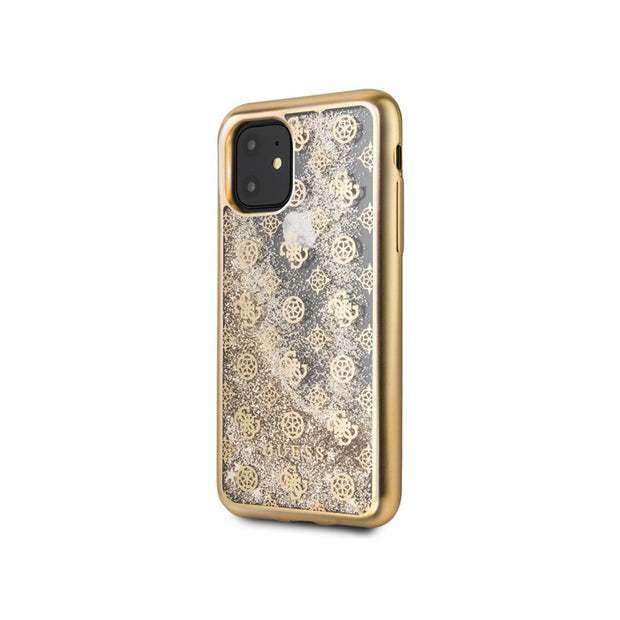 GUESS - Peony Liquid Glitter Hard Case iPhone 11 Pro (GUHCNPEOL)-Accessories-Guess-Gold-iPhone 11 Pro-Starlink Qatar