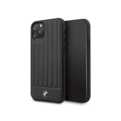 BMW - Leather Hard Case with Vertical Lines iPhone 11 Pro Max (BMHCNPOC)-Accessories-BMW-Black-iPhone 11 Pro Max-Starlink Qatar