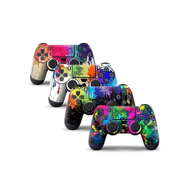 4PCS Vinyl Decal Skin Sticker Cover for PS4 Controller - Graffiti/Skull Designed/Starry/Green Leaves/Nebula/Colorful