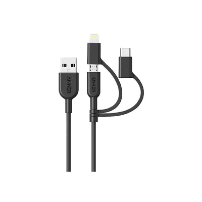 Anker powerline II USB-A to 3 in 1 Black - A8436H11