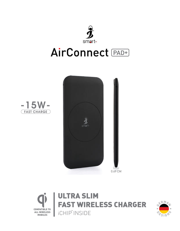 Smart AirConnect PAD+Black Fast Charger 15-watt Wireless Charging Pad-Accessories-Smart-Starlink Qatar