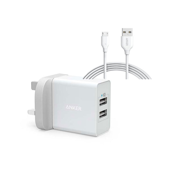 Anker 24W 2-Port USB Charger & 3FT Micro USB-Accessories-Anker-White-Starlink Qatar