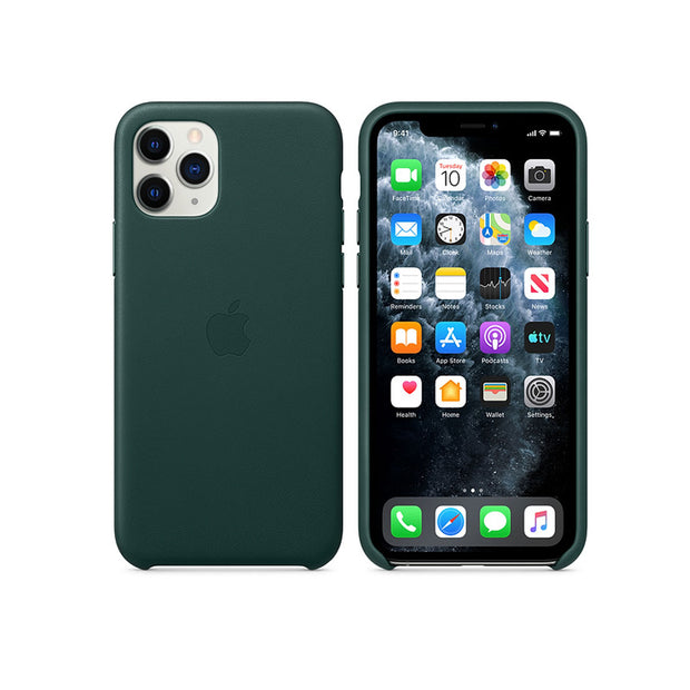 Apple Leather Case iPhone 11 Series-Accessories-Apple-MWYC2ZM/A iPhone 11 Pro Leather Case Forest Green-Starlink Qatar