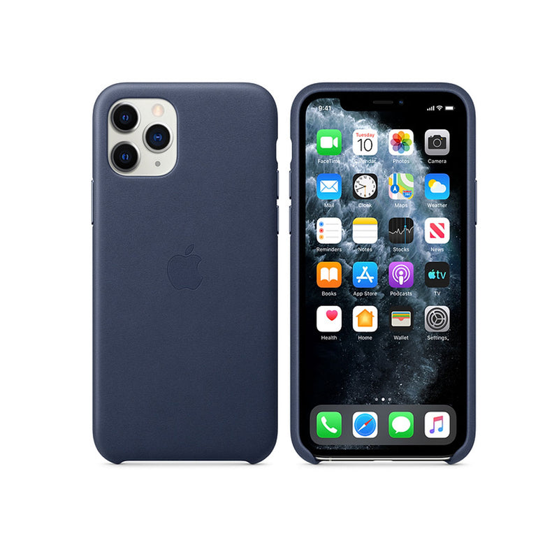 Apple Leather Case iPhone 11 Series-Accessories-Apple-MX0G2ZM/A iPhone 11 Pro Max Leather Case Midnight Blue-Starlink Qatar