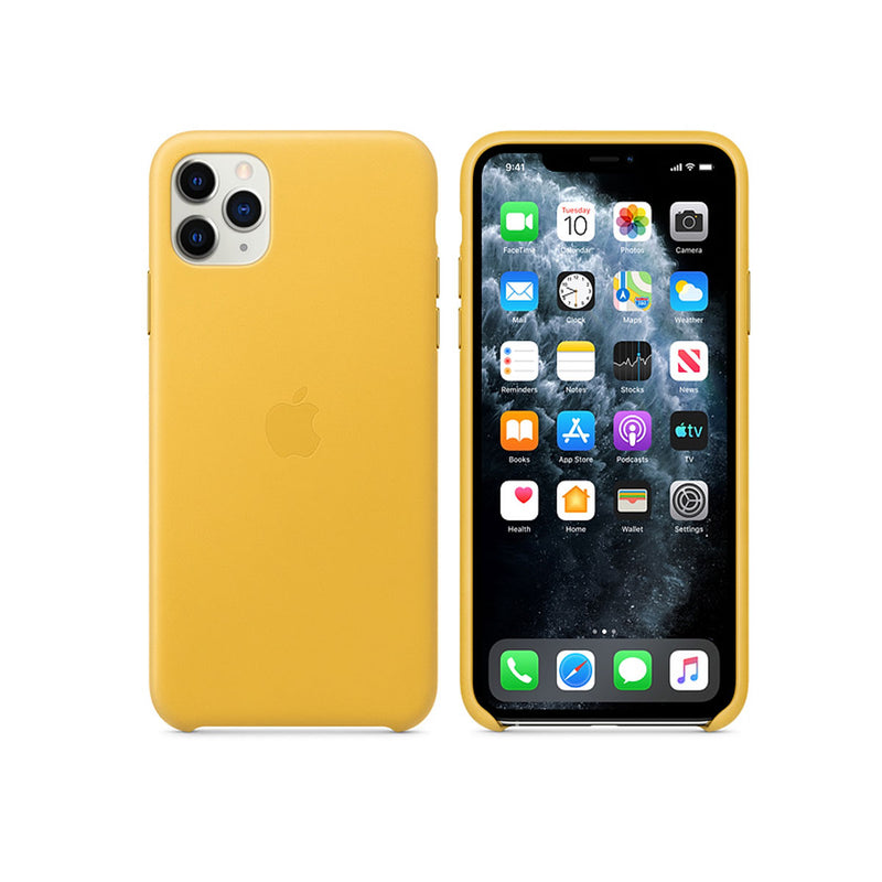 Apple Leather Case iPhone 11 Series-Accessories-Apple-MX0A2ZM/A iPhone 11 Pro Max Leather Case Meyer Lemon-Starlink Qatar