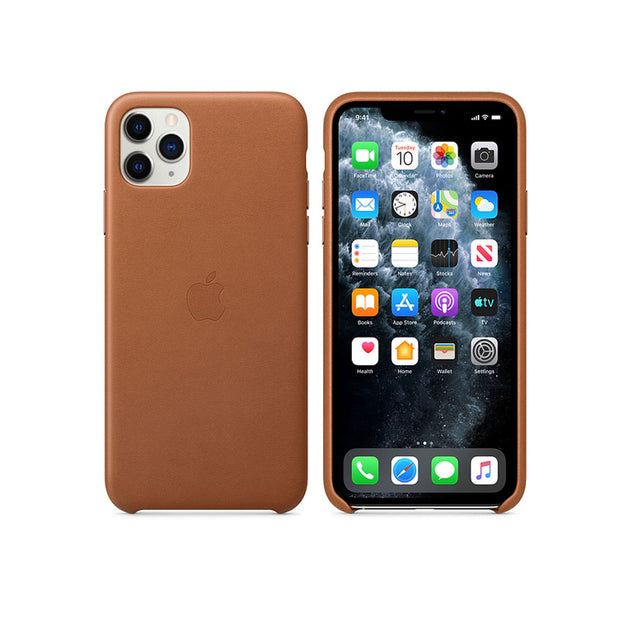 Apple Leather Case iPhone 11 Series-Accessories-Apple-MX0D2ZM/A iPhone 11 Pro Max Leather Case Saddle Brown-Starlink Qatar