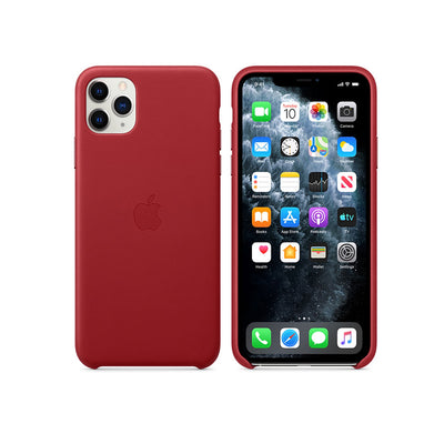 Apple Leather Case iPhone 11 Series-Accessories-Apple-MX0F2ZM/A iPhone 11 Pro Max Leather Case Red-Starlink Qatar