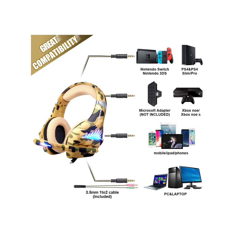 Beexcellent Gaming Headset for PS4, Xbox One, PC- Camo