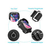 Bike Phone Front Frame Bag - Waterproof Bicycle Top Tube Cycling Phone Mount Pack Phone Case for 6.5'' inch phone