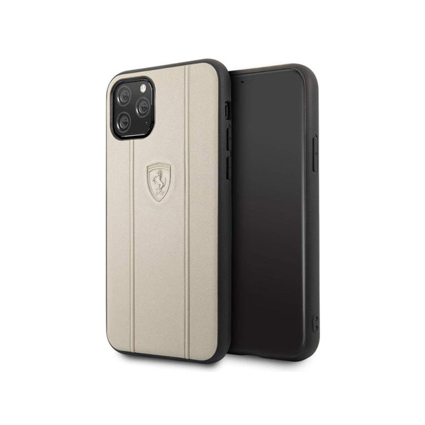 Ferrari - Leather Hard Case with Embossed Lines iPhone 11 Pro / Pro Max (FEO3DHCN)-Accessories-Ferrari-Beige-iPhone 11 Pro-Starlink Qatar