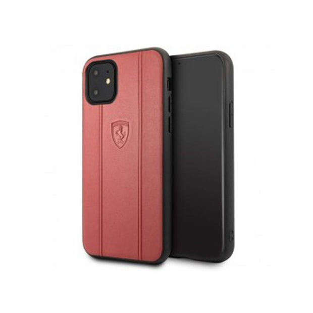 Ferrari - Leather Hard Case with Embossed Lines iPhone 11 Pro / Pro Max (FEO3DHCN)-Accessories-Ferrari-Black-iPhone 11 Pro Max-Starlink Qatar