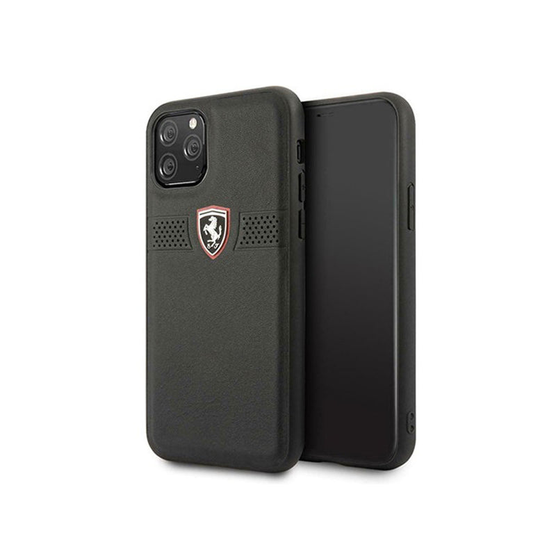 Ferrari - Off Track Grained Leather Hard Case iPhone 11 Pro (FEOBAHCN)-Accessories-Ferrari-Black-iPhone 11 Pro-Starlink Qatar