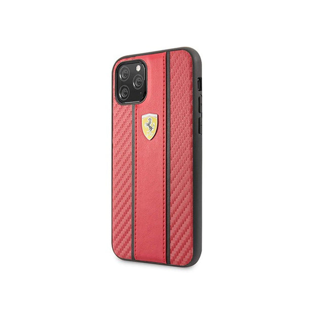 Ferrari - Carbon PU Leather Hard Case iPhone 11 Pro (FESNMHCN)-Accessories-Ferrari-Red-iPhone 11 Pro-Starlink Qatar