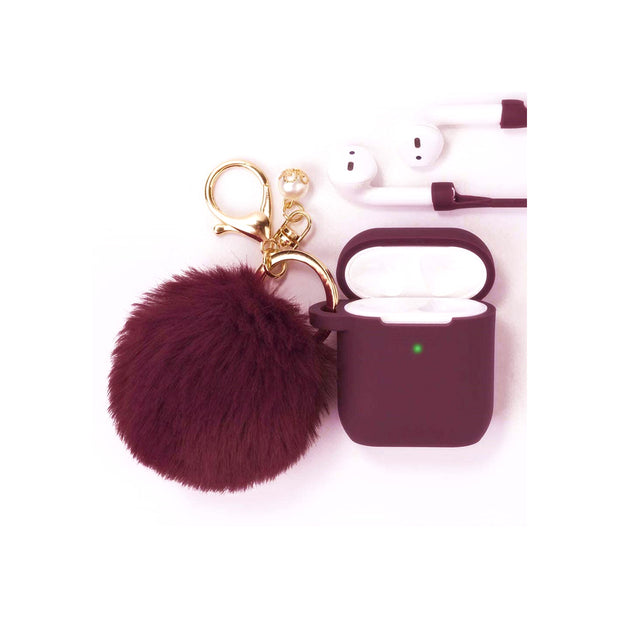 FILOTO Airpods 1 & 2 Silicone Protective Case with Pompom Keychain