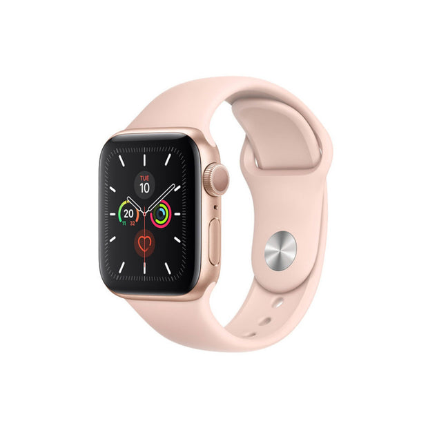 Apple Watch Series 5-Accessories-Apple-MWVE2AE/A 44mm Gold Aluminum Case with Pink Sport Band, GPS-Starlink Qatar