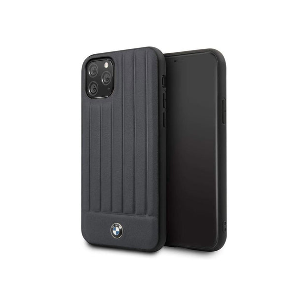 BMW - Leather Hard Case with Vertical Lines iPhone 11 Pro Max (BMHCNPOC)-Accessories-BMW-Navy-iPhone 11 Pro Max-Starlink Qatar