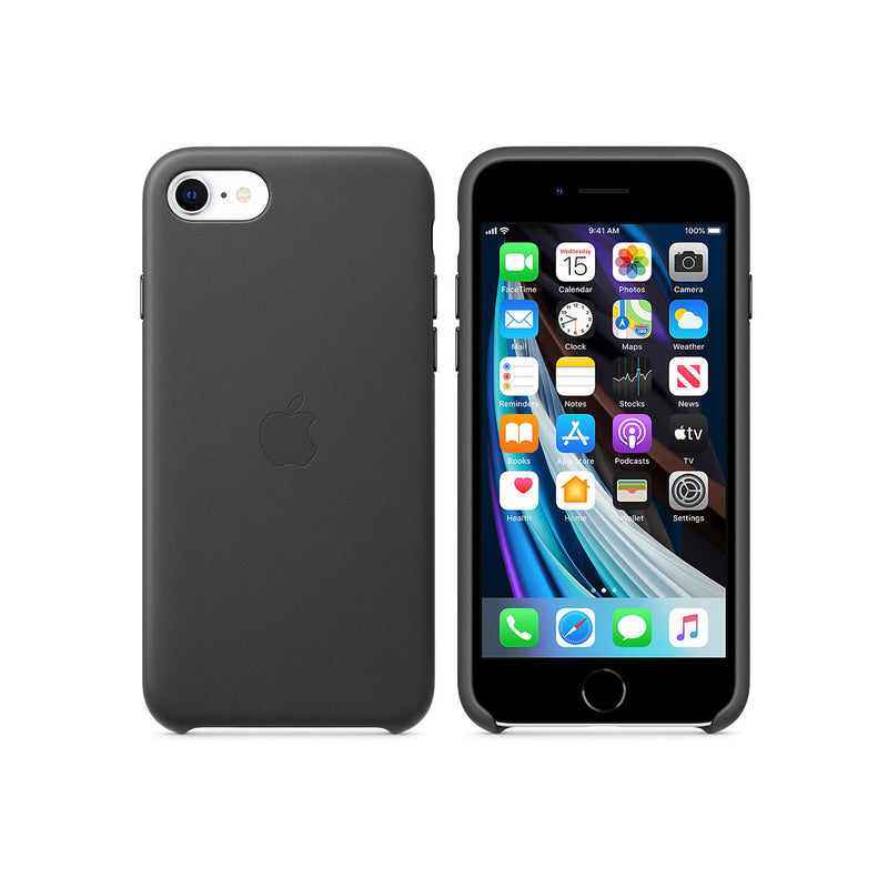 Apple iPhone SE Leather Case-Accessories-Apple-Black-Starlink Qatar