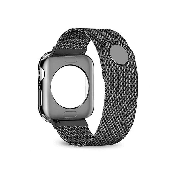 JWACCT Apple Watch 38/40/42/44mm Band w/Screen Protector Black