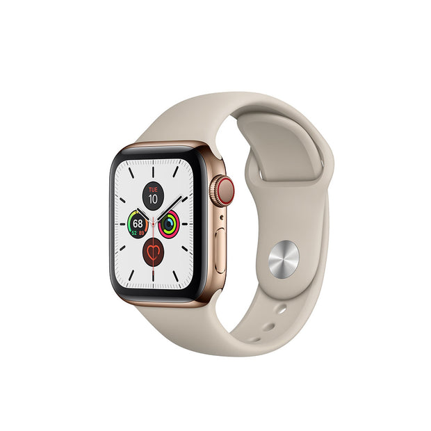 Apple Watch Series 5-Accessories-Apple-MWWH2AE/A 44mm Gold Stainless Steel Case with Sport Band, GPS+ Cellular-Starlink Qatar