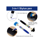 Mop Topper 3-in-1 Tablet Stylus / Ballpoint Pen / Screen Cleaner for Kids and Adults