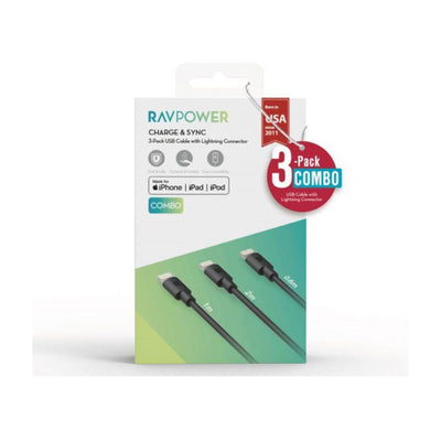 RAVPower 3-Pack USB Cable with Lightning Connector ( 0.6m / 1m / 2m ) - (RP-CB045)-Accessories-RAVPower-Starlink Qatar