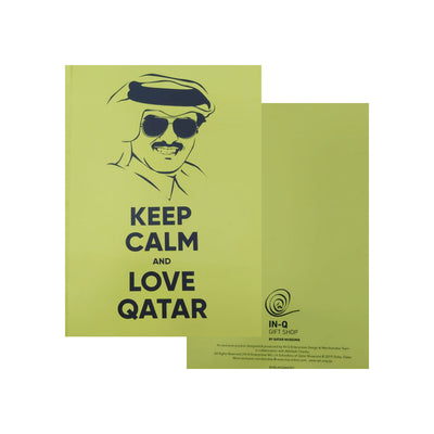 Hardback A5 Notebook Keep Calm Love Qatar Yellow-Accessories-InQ-Starlink Qatar