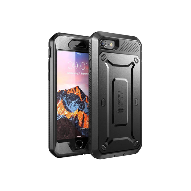 Supcase Unicorn Beetle Pro Series Case Designed for iPhone SE 2nd generation (2020)/iPhone 7/iPhone 8, Full-Body Rugged Holster Case with Built-In Screen Protector (Black)