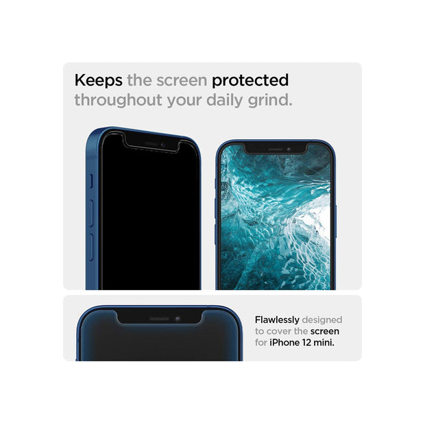 Spigen Tempered Glass Screen Protector [Glas.tR EZ Fit] designed for iPhone 12 Mini (2020)