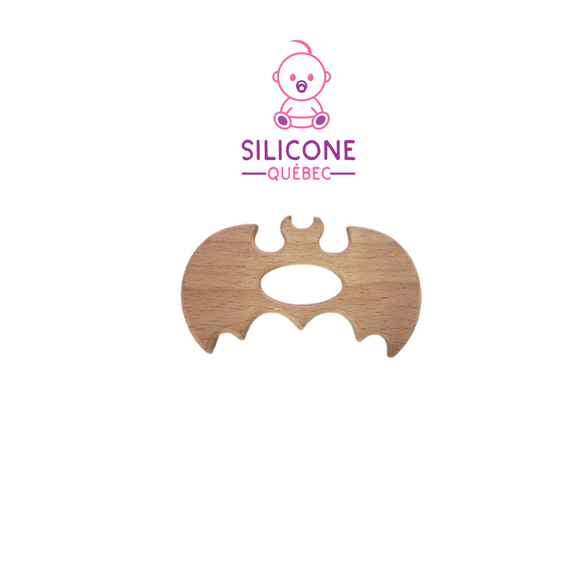 Bat wooden teether natural maple wood