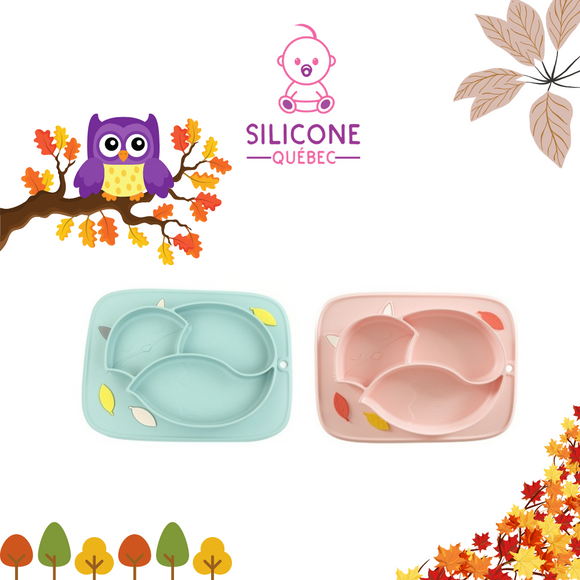 Silicone Placemat Cute fox design with bright colors/ suction placemat