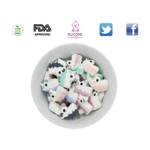 Horse head/ Unicorn silicone teething beads