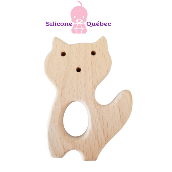 Fox natural wooden teether