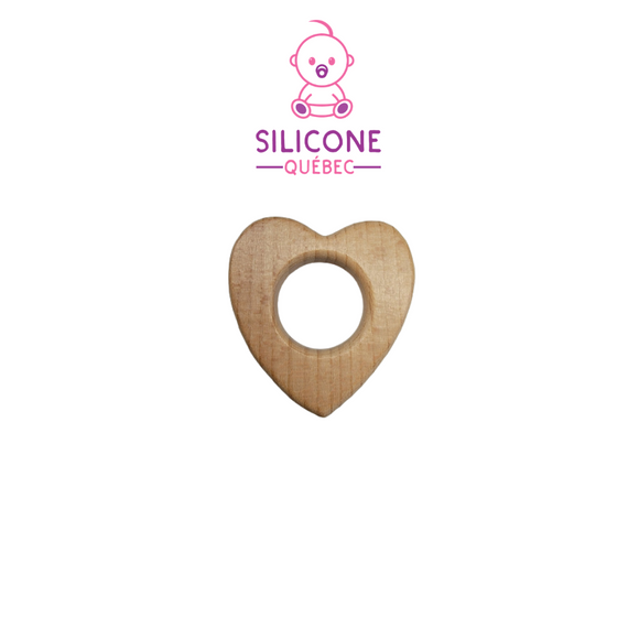 Small Heart Natural wooden teether