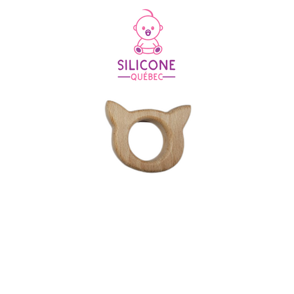 Cat / Pig Ears Natural wooden teether