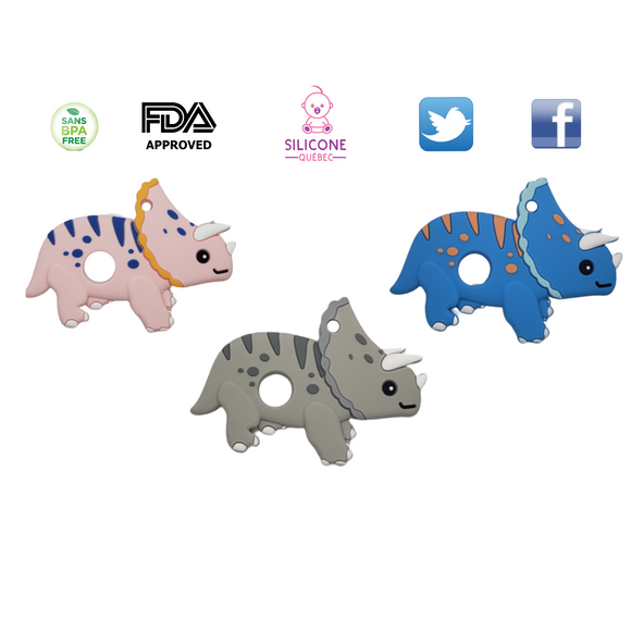 Triceratops dinosaur silicone teething toy
