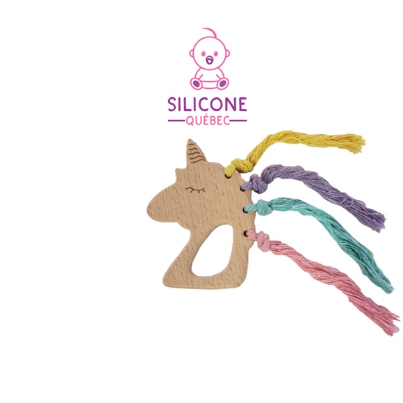 Unicorn with hair wooden teether natural maple wood