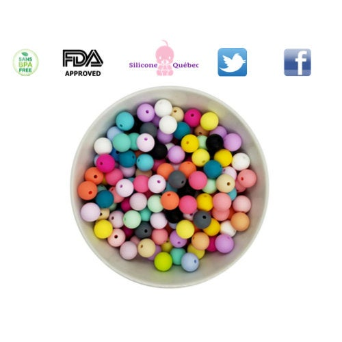 Round 12mm silicone teething beads