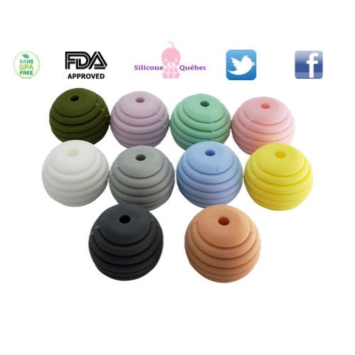 Behive round 15mm with lines silicone teething beads